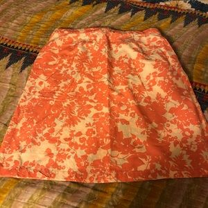 Knee linen skirt with pockets LL Bean large coral